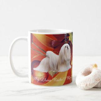 Lhasa Apso on Autumn Floral Coffee Mug