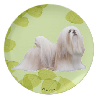 Lhasa Apso on Green Leaves Plate