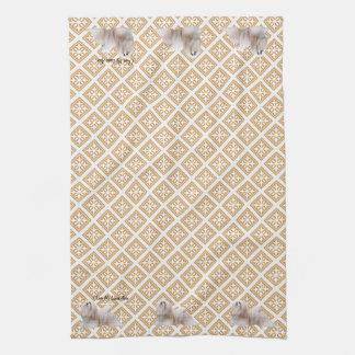 Lhasa Apso on Old Gold Pattern Tea Towel
