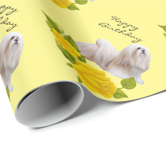 Lhasa Apso on Yellow Roses Wrapping Paper