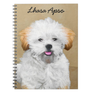 Lhasa Apso Puppy Painting - Cute Original Dog Art Notebook