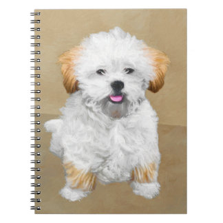 Lhasa Apso Puppy Painting - Cute Original Dog Art Notebook