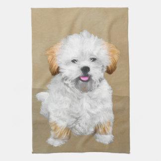 Lhasa Apso Puppy Painting - Cute Original Dog Art Tea Towel