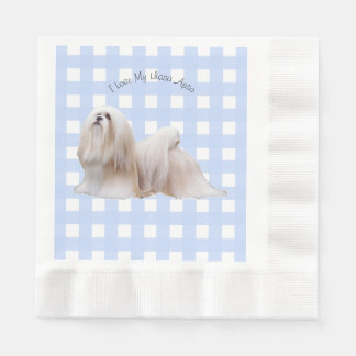 Lhasa Apso with Blue Gingham Paper Serviettes