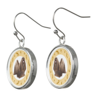 Lhasa Apso with Brown Swirls Earrings