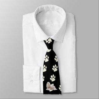 Lhasa Apso with white paw prints Tie