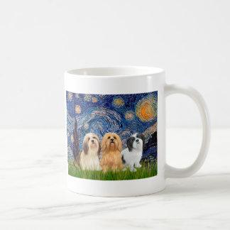 Lhasa Apsos (three) - Starry Night Coffee Mug