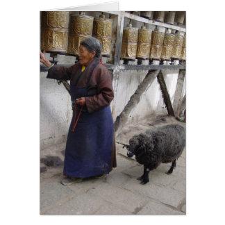 Lhasa Woman with Pet Sheep Card