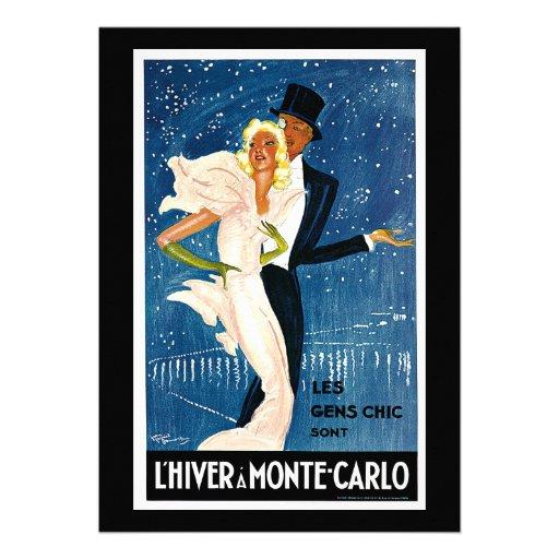 L'Hiver a Monte-Carlo Vintage Travel Advertisement Custom Invitations