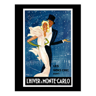 L'Hiver a Monte-Carlo Vintage Travel Advertisement Postcard