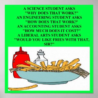 liberal arts science fast food joke print