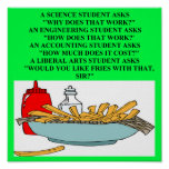 liberal arts science fast food joke print