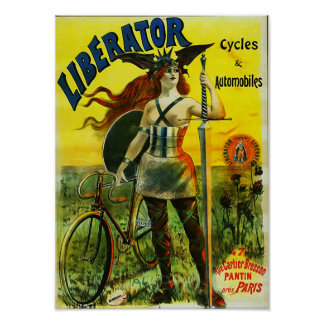 LIBERATOR Cycles & Automobiles Vintage Bicycle Poster