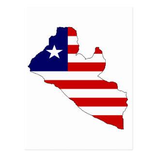 Liberia flag map postcard