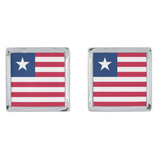 Liberia Flag Silver Finish Cufflinks
