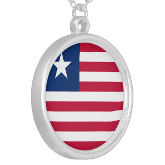 Liberia Flag Silver Plated Necklace