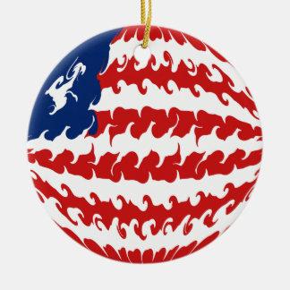 Liberia Gnarly Flag Christmas Tree Ornaments