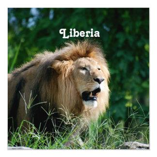 """Liberia Lion 5.25"""" Square Invitation Card"""