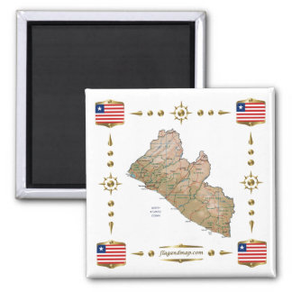Liberia Map + Flags Magnet