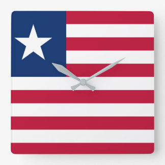Liberia National World Flag Square Wall Clock
