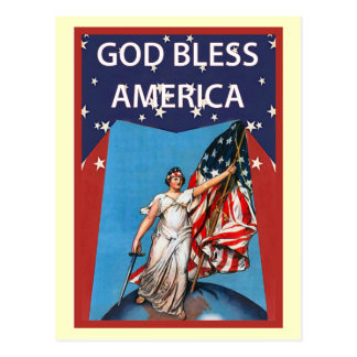 Libert and the stars and stripes postcard