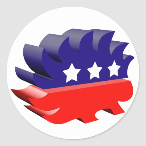 Libertarian porcupine 3D Sticker