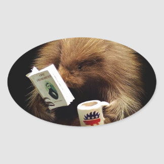 Libertarian Porcupine Mascot Civil Disobedience Oval Sticker