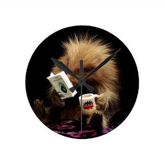 Libertarian Porcupine Mascot Civil Disobedience Round Clock
