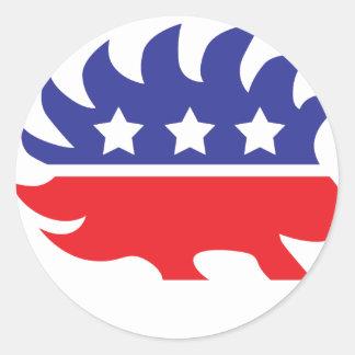libertarian porcupine round sticker