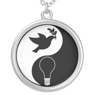 Libertarianism Logo Emphasizing Peace & Innovation Round Pendant Necklace