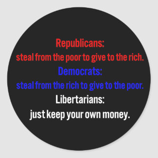 Libertarians say keep your money 1 round stickers