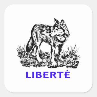 Liberté - Loup dans la nature sow-vaguely Square Sticker