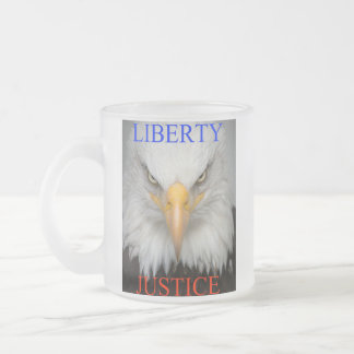 Liberty And Justice Frosted Glass Coffee Mug