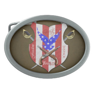Liberty For All Patriotic Flag & Sword Belt Buckle