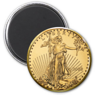 Liberty Gold Bullion Coin 6 Cm Round Magnet