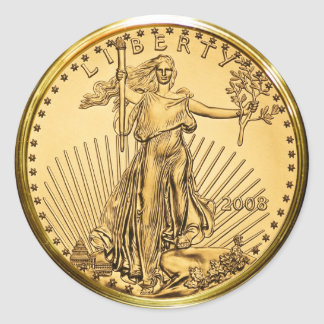 Liberty Gold Bullion Coin (pack of 6/20) Round Sticker
