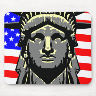 Liberty Head Over Flag Mouse Pad