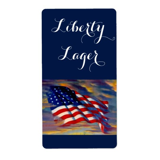 Liberty Lager USA Flag Wave Homebrewing Beer Label Shipping Label