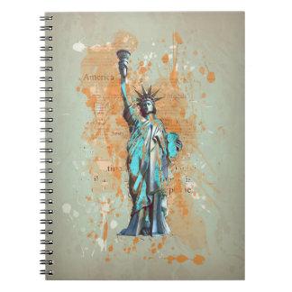 Liberty, New York, Manhattan, the USA, America Spiral Notebook