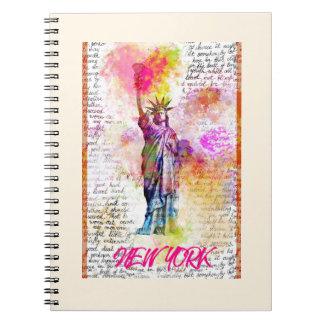 Liberty New York. Rainbow Color illustration Notebooks