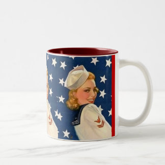 Liberty Pinup Girl Two-Tone Coffee Mug