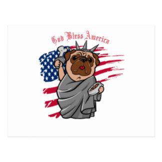 Liberty Pug Postcard