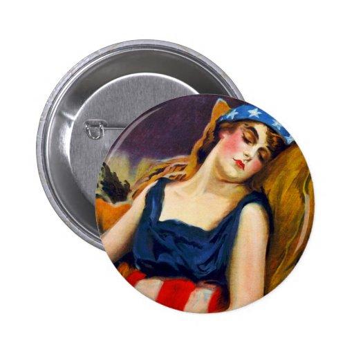 Liberty Sleeps America USA Vintage Retro Kitsch Pinback Button