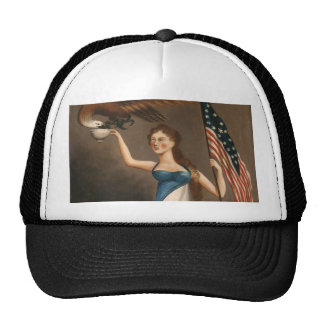 Liberty Woman Eagle American Flag USA Freedom Cap