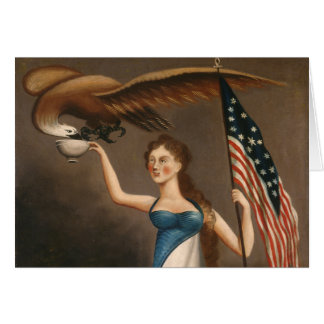 Liberty Woman Eagle American Flag USA Freedom Card
