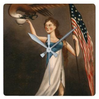 Liberty Woman Eagle American Flag USA Freedom Clock