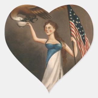 Liberty Woman Eagle American Flag USA Freedom Heart Sticker