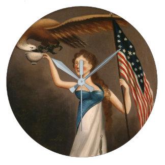 Liberty Woman Eagle American Flag USA Freedom Large Clock