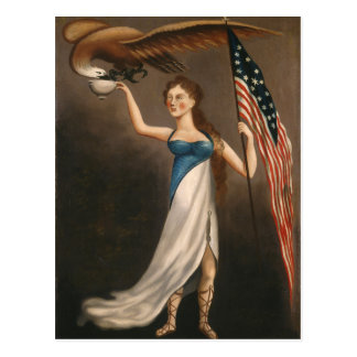 Liberty Woman Eagle American Flag USA Freedom Postcard