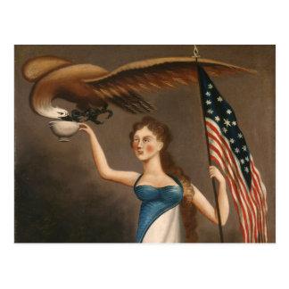 Liberty Woman Eagle American Flag USA Freedom Postcard